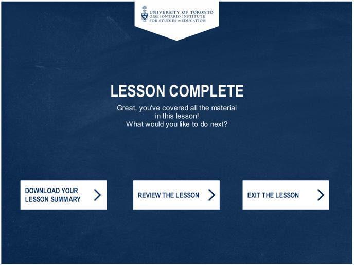 lesson complete